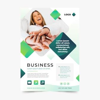 Folheto comercial abstrato em gradiente com foto