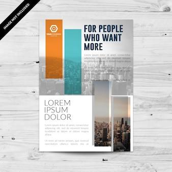 Folheto comercial branco e cinza com retângulos
