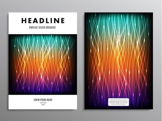 Folheto comercial, folheto de design de modelo ou layout em tamanho a4 com fundo abstrato de néon.