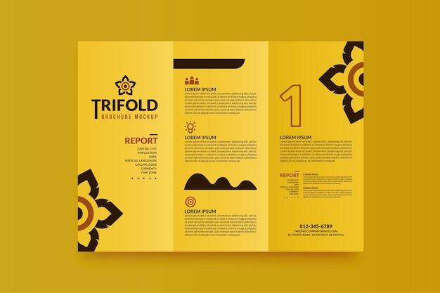 Folheto comercial mínimo com três dobras para o seu projeto