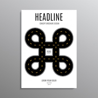 Folheto comercial, modelo ou folheto de projeto de layout em tamanho a4 com estrada no fundo.