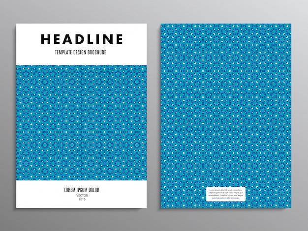 Folheto comercial, modelo ou panfleto de projeto de layout em tamanho a4 com padrão azul abstrato no fundo.