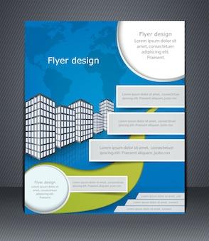 Folheto comercial ou brochura azul. modelo com a cidade e o mapa-múndi.