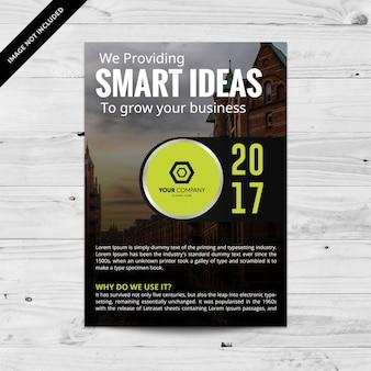 Folheto comercial preto com detalhes verdes