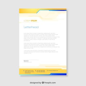 Folheto corporativo amarelo e azul com formas onduladas