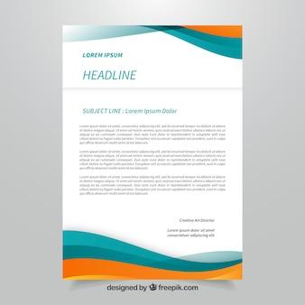 Folheto corporativo azul e laranja com formas abstratas