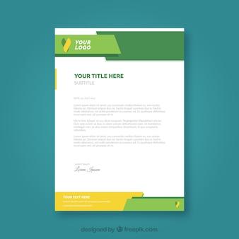 Folheto corporativo com formas amarelas e verdes