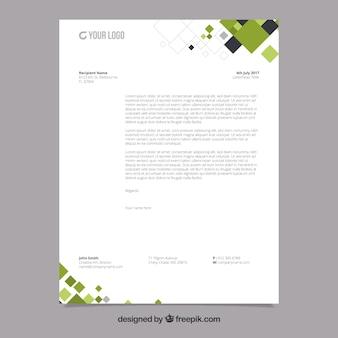 Folheto corporativo com formas geométricas pretas e verdes