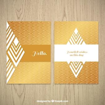 Folheto corporativo com padrão ouro