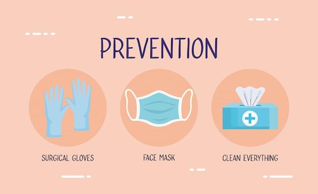 Folheto covid19 com infográfico de métodos de prevenção
