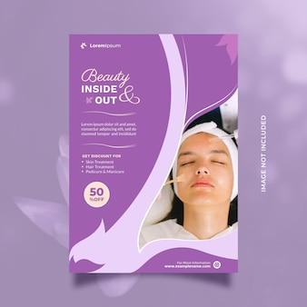 Folheto criativo de conceito de serviço de cuidados de beleza e modelo de folheto com tamanho a4 e cor roxa