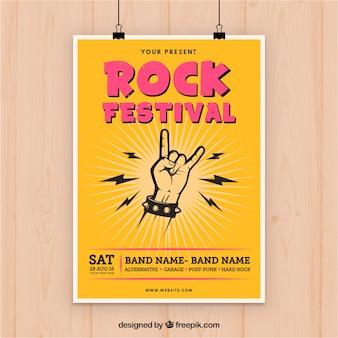 Folheto da festa da música rock