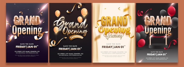 Folheto da festa de inauguração ou layout de modelo de convite em quatro opções