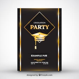 Folheto da festa negra com boné de graduação