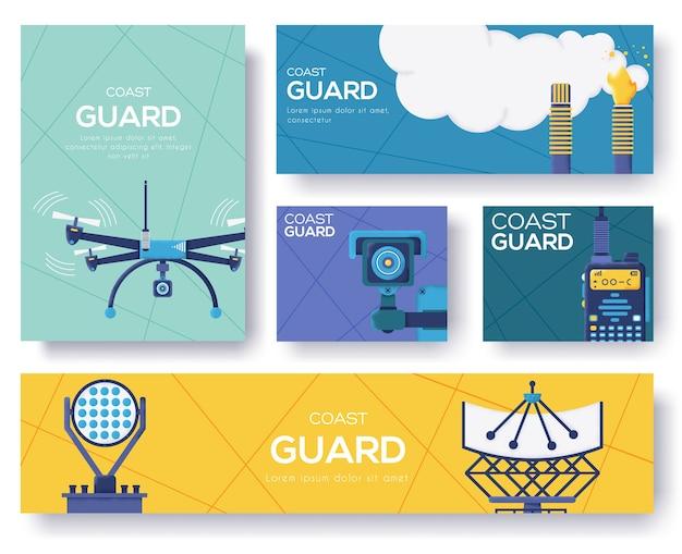 Folheto da guarda costeira, revistas, cartaz, capa de livro, banners. fundo de conceito de cartões de convite. página de controle deslizante moderno de ilustração de layout. textura do grão e efeito de ruído.