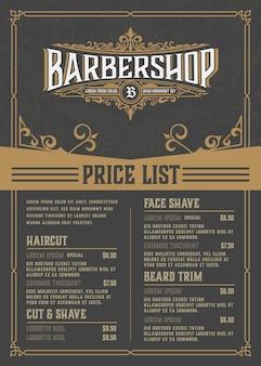 Folheto da lista de preços de barbearia