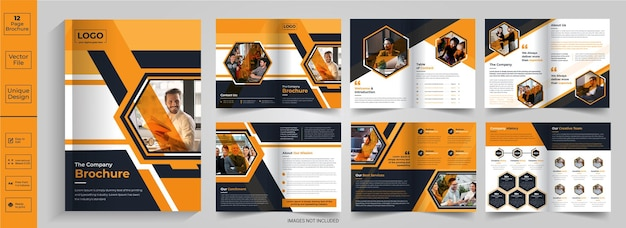 Folheto de 12 páginas, resumo, design, perfil da empresa, brochura, design, meia dobra, brochura, bifold, brochura