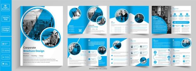 Folheto de 12 páginas, resumo, design, perfil da empresa, folheto, design, meia, dobrar, brochura, bifold, brochura