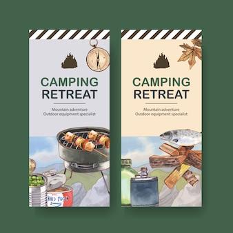 Folheto de acampamento com ilustrações de churrasco, lenha e peixe