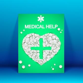 Folheto de ajuda médica verde com comprimidos brancos de medicamentos em formato de coração na ilustração azul