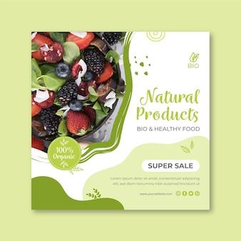 Folheto de alimentos bio e saudáveis