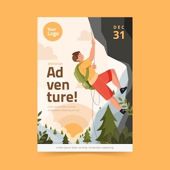 Folheto de alpinista de aventura plana