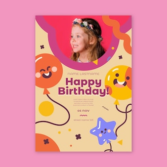 Folheto de aniversário infantil vertical