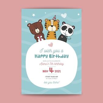 Folheto de aniversário infantil