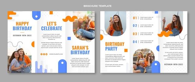 Folheto de aniversário mínimo de design plano