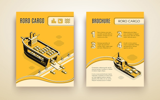 Folheto de anúncio da empresa de carga ro-ro isométrico