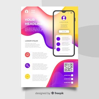 Folheto de aplicativo para dispositivos móveis