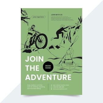 Folheto de aventura desenhado à mão Vetor grátis