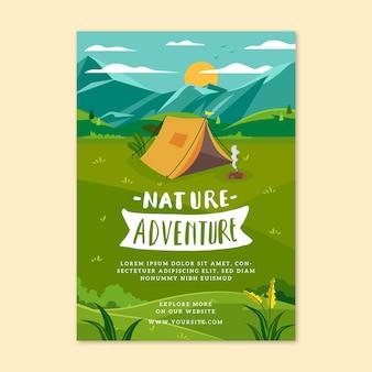 Folheto de aventura na natureza em design plano