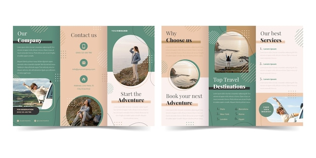 Folheto de aventura plana com três dobras