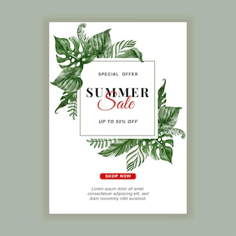 Folheto de banner de venda de verão com aquarela de folha tropical verde
