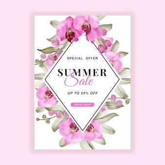 Folheto de banner de venda de verão com aquarela rosa orquídea Vetor grátis