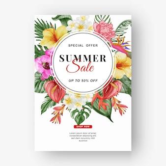 Folheto de banner de venda de verão com folha verde tropical e aquarela de antúrio aquarela banner de venda de verão com folha tropical de verde e aquarela de flores