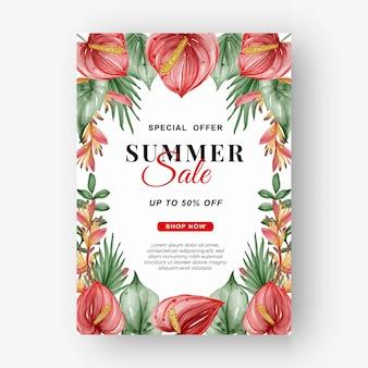 Folheto de banner de venda de verão com folha verde tropical e aquarela de antúrio
