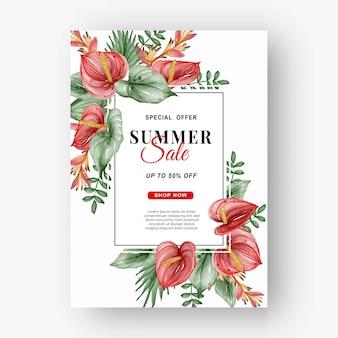 Folheto de banner de venda de verão com folhas tropicais aquarelas de folhas verdes e aquarela de antúrio
