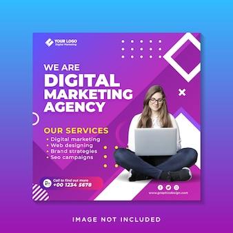 Folheto de banner moderno para agência de branding corporativo mídia social