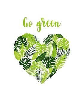 Folheto de banner na web com monstera tropical em forma de coração folhas de samambaia, palmeira banana go green design