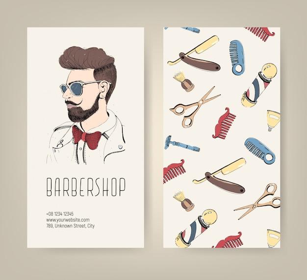 Folheto de barbearia com ferramentas de barbeiro e corte de cabelo de homem na moda. ilustração colorida.