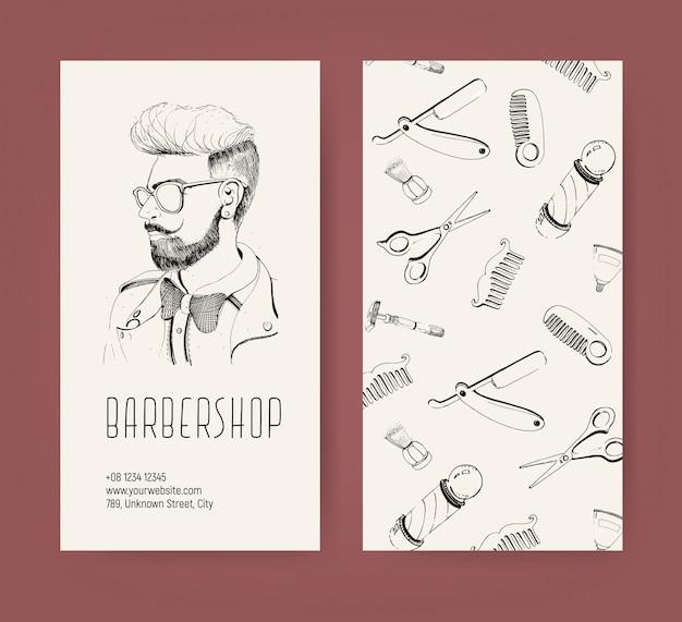 Folheto de barbearia com ferramentas de barbeiro e corte de cabelo de homem na moda. ilustração monocromática