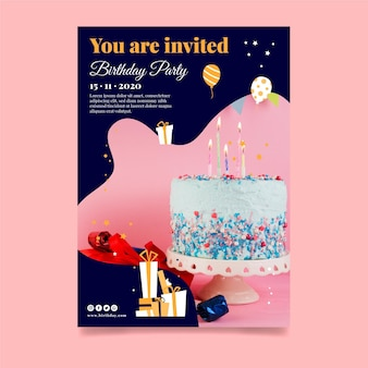Folheto de bolo delicioso feliz aniversário