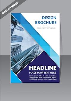 Folheto de brochura capa azul para o relatório anual de layout