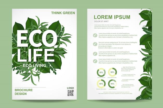 Folheto de brochura de ecologia