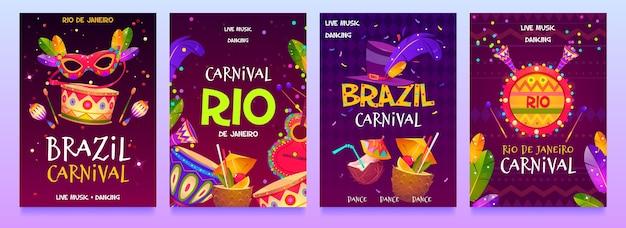 Folheto de carnaval brasileiro de design plano