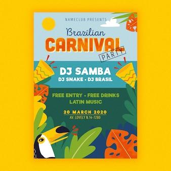 Folheto de carnaval brasileiro desenhado de mão
