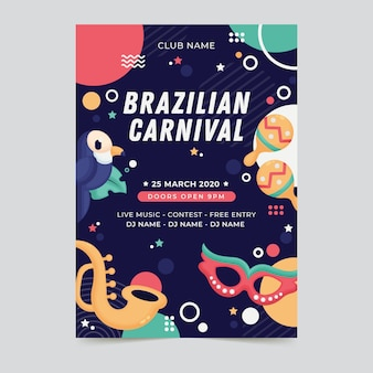 Folheto de carnaval brasileiro plana