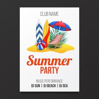 Folheto de cartaz de festa de praia verão com ilustração da ilha